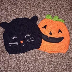 Pumpkin & Cat knitted Halloween Hats 3-9 Months